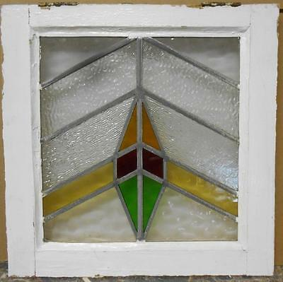 "OLD ENGLISH LEADED STAINED GLASS WINDOW Nice Geometric 18.25"" x 18.25"""