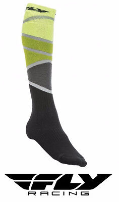 Fly Racing Mx Thick Motocross Socks Tall Sock Lime/green/black Adult Size