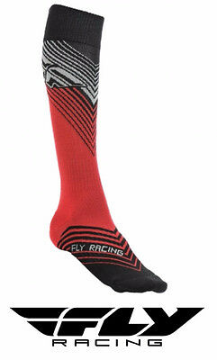 Fly Racing Mx Thin Motocross Socks Tall Sock Red/black Adult Size