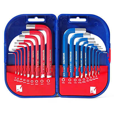 WORKPRO Short Arm Hex Key Wrench 18PC Metric SAE Cr-V Allen L Driver Tool Set .