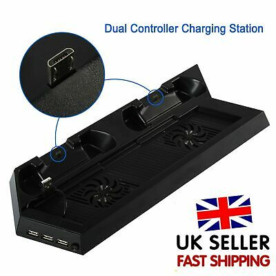 PS4 Cooling Stand Fan Dual Charging Dock With USB HUB Ports For PlayStation 4 UK