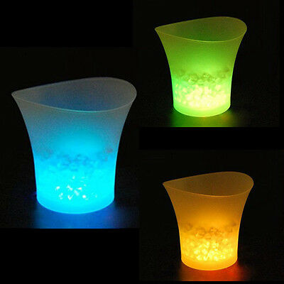 5L LED Ice Bucket Color with Light Change Flashing Cool Bars Night Party GF
