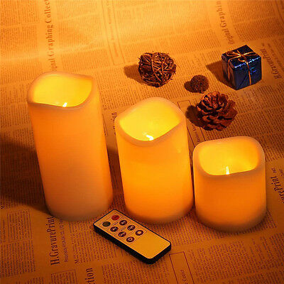 Electric Flickering Wax Candles Remote Control Timer Lights for Wedding Birthday