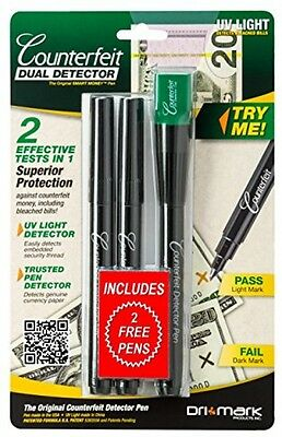 Pen Dual Detector Genuine US Currency Paper UV Light Detects Security Strip Bill