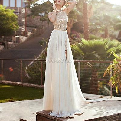Women Lace Gown Prom Dress Long Chiffon Bridesmaid Evening Party Cocktail Skirt