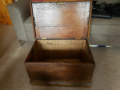 Victorian Georgian Antique Oak Chest Coffer Box Coffee Side Table - Ceredigion