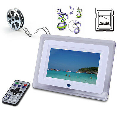 "7"" Digital Photo Picture Video White Frame Free 8GB SD Card &Remote Control CE"