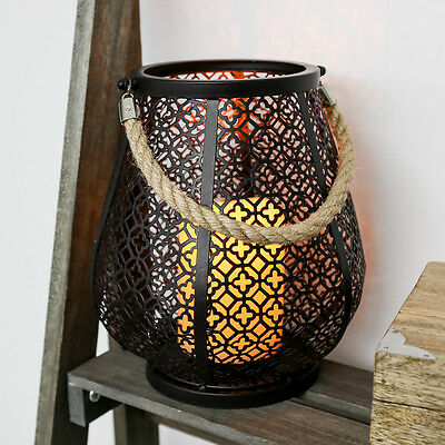 21.5Cm Indoor Outdoor Garden Battery Moroccan Led Candle Holder Lantern Lamp