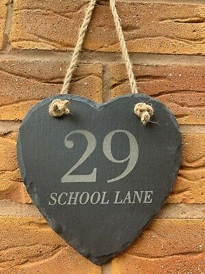 Personalised Slate Hanging Heart House Number Name Door Sign Plaque