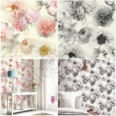 Arthouse Diamond Bloom Floral Wallpaper Flowers Glitter - Blush Pink, Grey Black