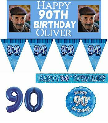 Blue Age 90 Male Happy 90th Birthday Banner Confetti Balloons Decorations
