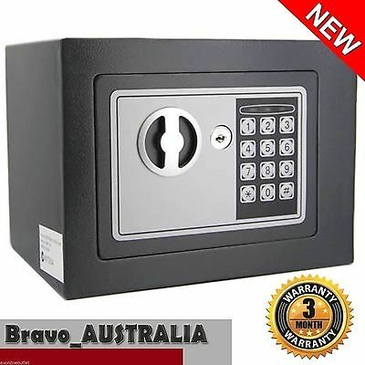 Electronic Safe Personal Security Box w Digital Code Access Key Grey Home Office
