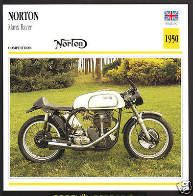 1950 Norton Manx Racer 1265cc 40hp Race Motorcycle Photo Spec Sheet Info Card