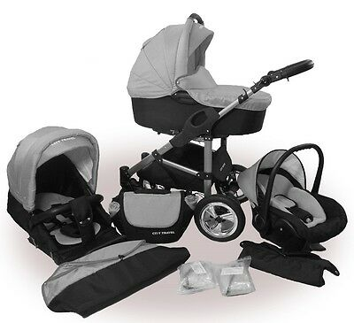Kinderwagen PolBaby Filio, 3 in 1- Set Wanne Buggy Babyschale Grau