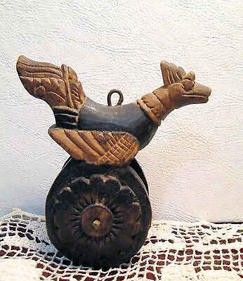 Antique Khmer Burmese Cambodia Loom Pulley Asian Hand Carved Wooden Bird Swan