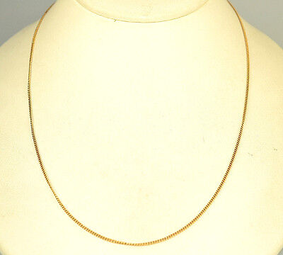 14K Yellow Gold Narrow Thin .7 Mm Curb Chain 18 Inches Long 3 Grams Necklace