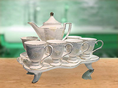 Luxury Tea Set Cup Saucer Elegant Design Tea Pot with Tray For 6 People
