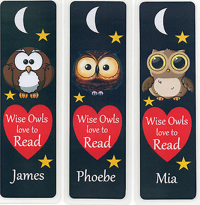 3 CHILDRENS PERSONALISED BOOKMARKS,OWLS LOVE TO READ.18cm x5cm laminated
