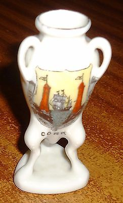 CORK Ireland THREE HANDLED TALL VASE Planter? GEMMA Crested China ORIGINAL