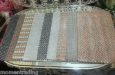 Stunning Diamante Place mats Rectangle Tableware Dinner Dining Table Mat