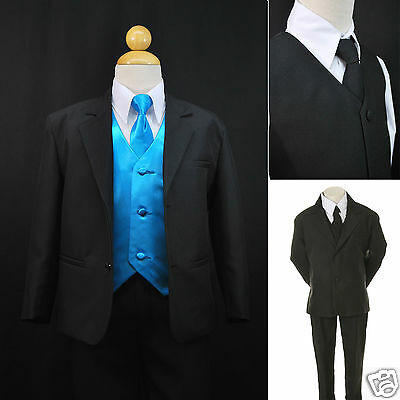 Toddler Boy Formal Party Black 7pc Tuxedo Suits Turquoise Vest + Tie Infant teen