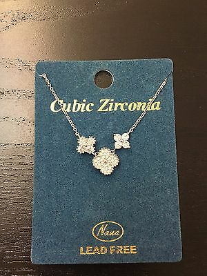 Necklace stainless steel zirconia flowers