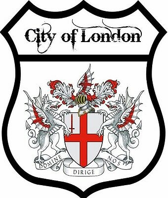 2 x City of London Flag Decal Car Motorbike Laptop Window Sticker - Free P & P