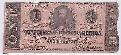 One Dollar Confederate States Of America 2 Decembre 1862 (11)