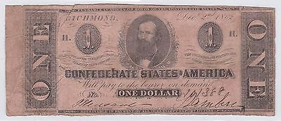 One Dollar Confederate States Of America 2 Decembre 1862 (5)