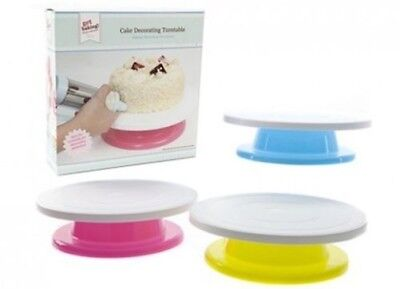 "New Rotating Cake Turntable Stand Decorating Icing Blue Green Pink 27Cm 11"" Pms"