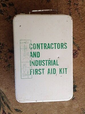 """Vintage Metal """"Contractors And Industrial First Aid Kit"""" Part Full"""