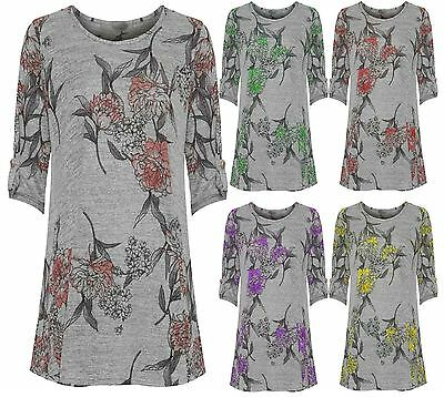 Womens Floral Print Short Sleeve  Swing Top Ladies Round Neck New 14-30