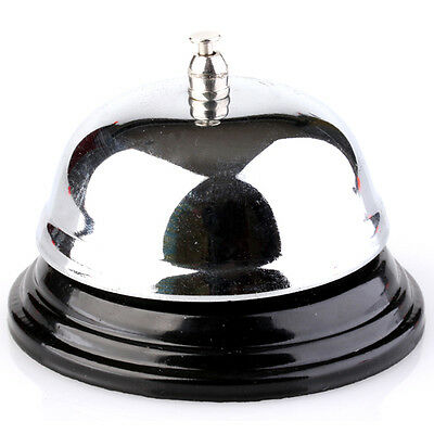 Vintage Metal SILVER Front Desk Counter Top Hotel Reception Lobby Service Bell