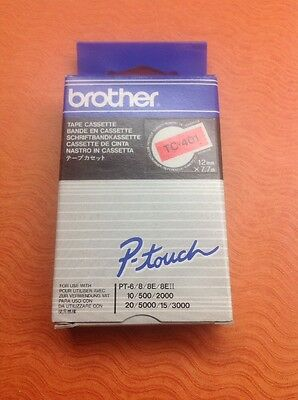 Brother p-touch Tape - TC-401 Black on Red - 12mm X 7.7m New - Free Shipping!