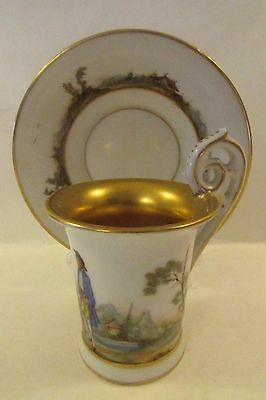 Antique RARE French/German Demitaase Cup & Saucer Pastoral Scene Gold Inlay MINT