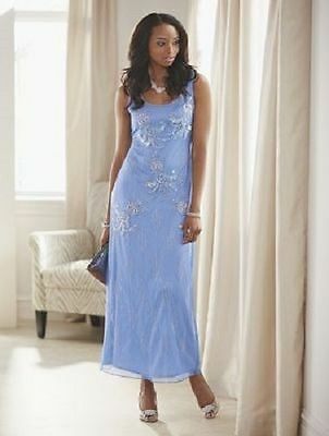 size 16 Blue Delsey Gown formal wedding party prom cruise by Ashro new