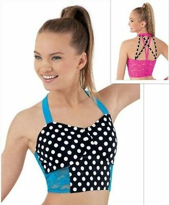 New Dance Crop Bra Top Size LC 12 14 Large Child Peacock Blue Lace & Polka Dots