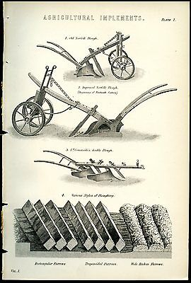 AGRICULTURE 1885 Antique Print Ploughing Improvements 19th Century Farm Machines