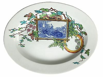 Royal Worcester, Aesthetic Movement, Transferware, Meat Plate, Rabbits, c.1875