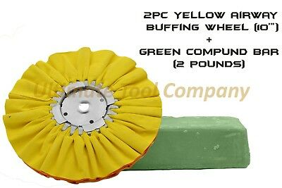 "2pc Yellow Airway Buffing Wheel 10"" & Green Polishing Compound 1-Step Shine"
