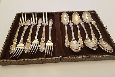Vintage Set of 12 Melchior Spoons and Forks German Silver Soviet Union  NIB