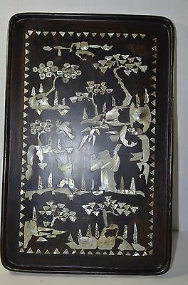 19th Chinese Zitan Wood Plaque with Mother of Pearl