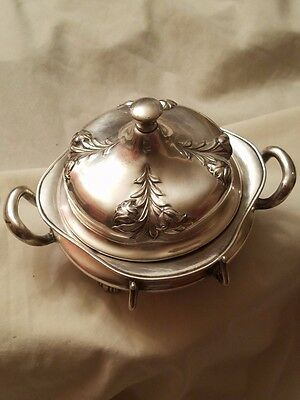 Vintage round silver butter dish with insert made by Forbes Silver Co