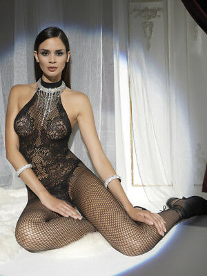 Trasparenze Doina Bodystocking, Lace & Fishnet Luxury Halter Neck Body Stocking
