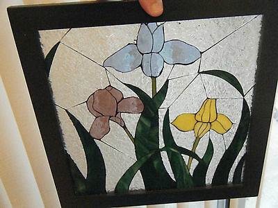 Vintage Stained Glass Flowers Window Panel Hanging Suncatcher Frame