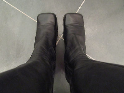 NINE WEST Womens Black Leather Knee High Boots Size 8 M Heels 2 7/8''