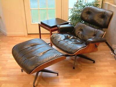 Mid Century Modern Herman Miller Eames Lounge Chair Ottoman Erik Buck Buch  Table