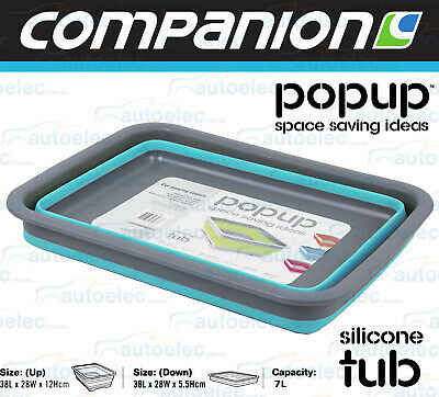 Blue Silicone Wash Tub  Pop Up Collapsible Camping Camper Collapsible 526311