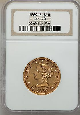 1869-S $10 Liberty Gold Eagle Ngc Xf40, Only 60 - 75 Exist!