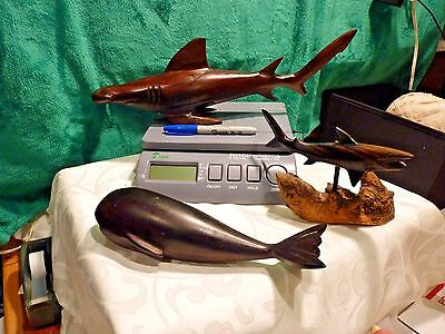 Solid Mahogany Carving Of A Whale~Hammerhead Shark~& A Shark On Driftwood